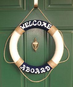 Nautical Life Preserver Yarn Wreath by NOLACraftsbyDesign on Etsy