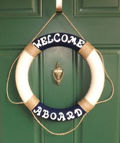 Nautical Life Preserver Yarn Wreath by NOLACraftsbyDesign on Etsy