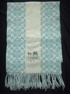 Coach Signature C Logo Merino Wool Cashmere Blend Scarf Blue Gray #Coach #Scarf