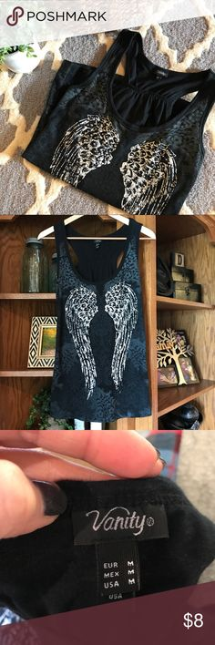 Vanity black racerback type tank angel wings Rhinestone embellishments on angel wings. Size medium. Vanity Tops Tank Tops