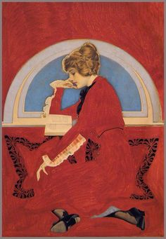 Coles Phillips Woman reading book in window nook 1913 by Plum leaves, via Flickr