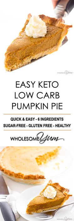 Easy Keto Low Carb Pumpkin Pie Recipe (Sugar-Free, Gluten-Free) - You only need a few ingredients for this easy keto low carb pumpkin pie recipe with almond flour crust. It will be your favorite sugar-free pumpkin pie! Use flax egg for vegan keto Sugar Free Pumpkin Pie, Low Carb Pumpkin Pie, Pumpkin Pie Recipes, Easy Pumpkin Pie, Gluten Free Pumpkin Pie, Low Carb Pumpkin Cheesecake, Pumpkin Pie Crust, Pumpkin Pumpkin, Diabetic Pumpkin Pie Recipe