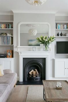 trendy home living room design lounges Living Room Shelves, Living Room With Fireplace, New Living Room, Home And Living, Barn Living, Small Living, Modern Living, Alcove Ideas Living Room, London Living Room