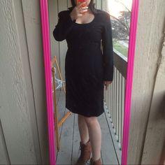 Lbd Office Lady Elegant Black Long Sleeve Dress