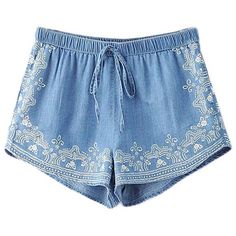 Chicnova Fashion High Waist Drawstring Denim Shorts ($15) ❤ liked on Polyvore featuring shorts, bottoms, high waisted stretch shorts, patterned shorts, short jean shorts, print shorts and high waisted shorts