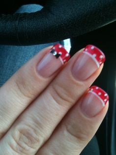 Minni Mouse French manicure ♥ Love this! If I could have nails. :)