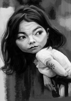 digital caricature of Björk