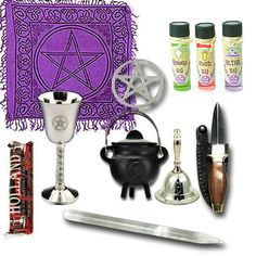 """FALL SALE SAVE 8% Pentacle Altar Kit Wiccan Altar Kit Spiritual Craft Supplies Handmade Spell Oils God, Goddess, Altar    SPIRITUAL CRAFT SUPPLIES  HANDMADE OILS INCLUDED, Set of 3    INCLUDES:   Altar Bell - silver, clear celtic sound (pentacle)  Altar Cloth - 24""""x24"""" - (pentacle)  Athame - wood handle 6""""  Chalice - Silver, 3 1/2"""" tall - (pentacle)  Cauldron - Cast iron, 3"""" - (pentacle)  Pentacle - pentacle altar tile 2 3/4""""  Wand - 6"""" selenite crystal wand - (never needs charging or…"""