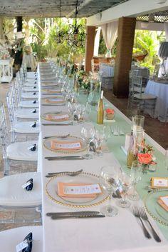 Gold&Mint guest table decor| Venue Kukua Punta Cana| Design Begokua| Photo by HDC