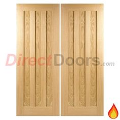 Idaho Oak 3 Panel Fire Door Pair is 30 Minute Fire Rated  #panelleddoublefiredoors #firedoors #directdoors