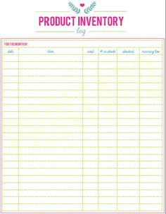 Printable Etsy Small Business Product Inventory Log by PrintADo