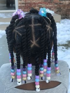 Little girl natural hair twists beads protective style Lil Girl Hairstyles, Black Kids Hairstyles, Natural Hairstyles For Kids, Kids Braided Hairstyles, Toddler Hairstyles, Girl Haircuts, Protective Hairstyles, Short Haircuts, Trendy Hairstyles