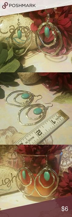 """*NEW* SILVERTONE DOUBLE LOOP & TURQUOISE EARRINGS These earrings measure just about 2"""" in length and just about 1.25"""" wide. They are silverplated with simulated turquoise stones. Item#E271 Jewelry Earrings"""