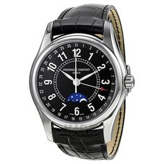 Frederique Constant Moontimer Black Dial Stainless Steel Mens Watch FC-330B6B6