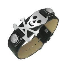 Bracelet simili cuir avec tête de mort pirate acier