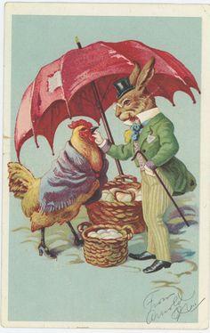 Fleischmanns Yeast Rabbit Person Buys Eggs Trade Card