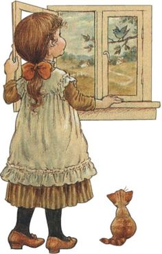 Little girl and kitty look out a window, bird in tree by Sarah Kay (art, children, portrayals) Sarah Key, Holly Hobbie, Vintage Pictures, Vintage Images, Vintage Postcards, Image Deco, Vintage Drawing, Australian Artists, Cute Images