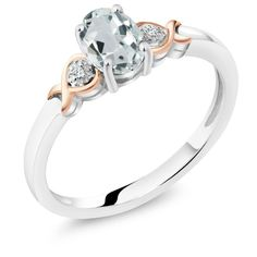 925 Sterling Silver and 10K Rose Gold Ring Aquamarine with Diamond Accent
