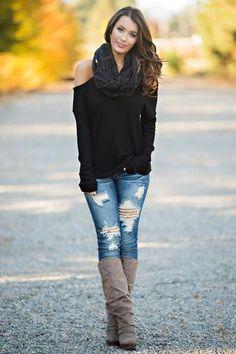 Malibu Cold Shoulder High Low Long Sleeve Top (Black) - NanaMacs.com - 1