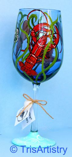 Hand Painted Wine glass in a Lobster Starfish & by TrisArtistry, $32.00  #joescrabshack