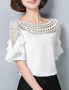 Women's Going out Casual/Daily Vintage Sophisticated All Seasons Blouse,Solid Boat Neck Short Sleeve Rayon Polyester - GBP £ Cheap Womens Tops, Spring Shirts, Street Chic, Gorgeous Women, Blouse Designs, Blouses For Women, Women's Blouses, Ideias Fashion, Fashion Dresses