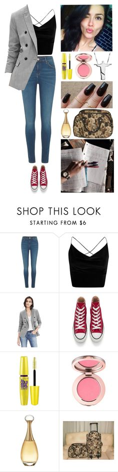 """""""College: Civil Procedural Law. (And my 23th birthday!)"""" by annacastrolima ❤ liked on Polyvore featuring River Island, Boohoo, Banana Republic, Converse, Maybelline and Christian Dior"""
