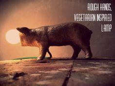 Vegitarian inspired lamp by Rough Hands. Pig door RoughHandsTheHague