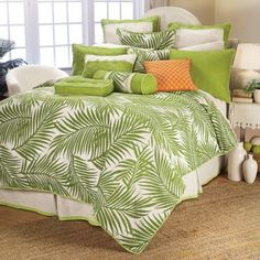 Buy HiEnd Accents Capri Queen Duvet Cover Set in Green/White from Bed Bath & Beyond Cheap Bedding Sets, Bedding Sets Online, Luxury Bedding Sets, Affordable Bedding, Tropical Bedding, Beach Bedding, King Duvet Cover Sets, Duvet Bedding Sets, Comforters