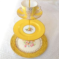 Alice Steals the Sunshine, Bright Yellow Cake Stand for High Tea in Vintage China, 3 Tiers for Wedding Cupcakes or Birthday Party. $175.00, via Etsy.