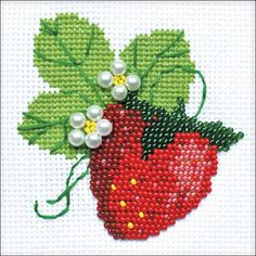 Express your love for arts and crafts with these beautiful cross stitch kits! Find a themed kit for any taste! From Russia. - This cross stitch kit includes 14 count A Cross Stitch Fruit, Cross Stitch Kitchen, Beaded Cross Stitch, Counted Cross Stitch Kits, Beaded Embroidery, Cross Stitch Embroidery, Embroidery Patterns, Hand Embroidery, Cross Stitch Designs