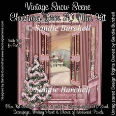 Vintage Snow Scene Christmas Door 3D Mini Kit : The Designer Twins ...where creativity encounters quality and value