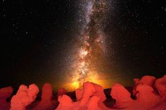 The Milky Way over a collection of hoodoos in Goblin Valley National Park in Green River, Utah. Bret Webster