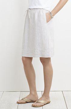 striped linen drawstring skirt