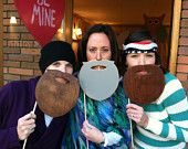 Duck Dynasty Photo Prop Wooden Beards - Pack of 3 (Willie, Jase, and Si) - Photo Booth