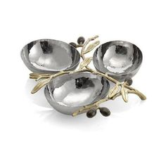 Michael Aram Olive Branch Gold Triple Compartment Dish