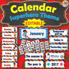 Superhero themed Calendar Card Set.  Great for pocket charts.  Coordinates with all my other superhero classroom theme decor items.