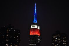 May 25, 2014: We always knew that red, white and blue looked good on New York City. Photo of the Empire State Building's #MemorialDay lighting by Daniel O.
