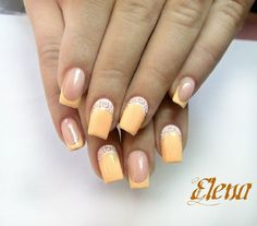 Apricot nails, Beautiful nails 2016, Beautiful summer nails, Color french manicure, Gentle summer nails, Nails with curls, Peach nails, Reverse French manicure