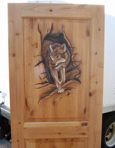 wolf carving on door-Hand Carved Rustic Doors, Hand painted Interior Doors, Unique Carved Exterior Doors Painted Interior Doors, Interior Barn Doors, Exterior Doors, Entry Doors, Front Doors, Rustic Exterior, Panel Doors, Front Entry, Sliding Doors