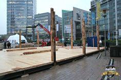 Konstruktion einer Hütte #Alpenzauber #Köln #MediaPark
