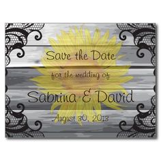 Sunflowers Barn Wood Collection Save the Date Postcard
