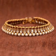 Anvi's Beautiful Anklets Studded with White Kundhan, Antique Beads and Pearls…