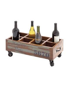 Vintage Trolley Roller Wooden Metal Wine Storage Box - you will get both storage and presentation. With 8 compartments to keep bottles of wine in, this wine trolley comes with wheels. Thus, for example, you could keep the bottles that you are currently consuming in this ingenious wine trolley. In a brown shade with a gray wash, this trolley also has a handle.