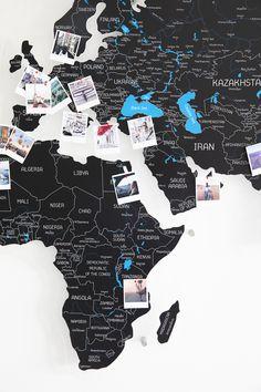 Black Map of the World Push Pin world map wall art travel map modern scandinavian home decor living room decor bedroom wall decor office World Map Wall Decor, Wall Maps, Wall Décor, Map Monde Deco, Push Pin World Map, Globe Decor, Girl Bedroom Designs, Bedroom Ideas, Wooden Wall Decor