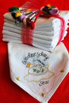 The Twelve Days of Giving - On the Eighth Day of Christmas My True Love Made for Me - Embroidered Tea Towels
