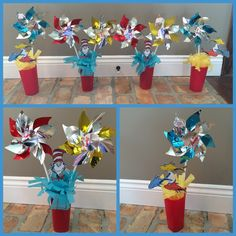 DIY Dr. Seuss Birthday party cake table decorations using pinwheels, tissue paper, & tumbler glasses (Centerpieces, Cat in the Hat, 1st birthday)