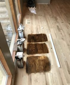 Stain colors bottom to top - Dark Walnut, Antique Brown, Coffee Brown. All Duraseal over white oak.
