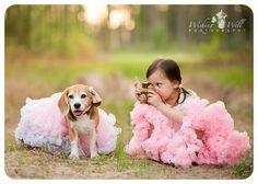 Oh my gosh! Oh my gosh! Oh my gosh!!!!! LOVE it!!!!!! Fun photo session idea! Family | Child | Prop ideas | Tutu | Girl | Dog | Camera | Photography