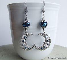 greek goddess nyx | The Goddess Nyx Vintage Filigree Crescent Moon Earrings