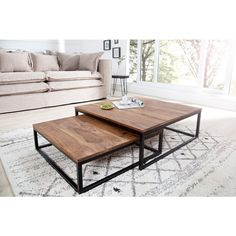 Salontafel 2-delige set New Fusion 75x75cm Massief Sheesham Hout - 37291